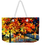 Rivershore Park - Palette Knife Oil Painting On Canvas By Leonid Afremov Weekender Tote Bag