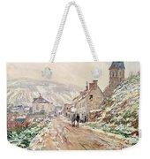Road In Vetheuil In Winter Weekender Tote Bag