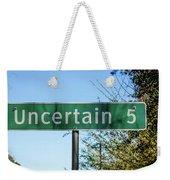 Road Sign To Uncertain, Texas Weekender Tote Bag