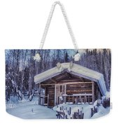 Robert Service Cabin Winter Idyll Weekender Tote Bag by Priska Wettstein