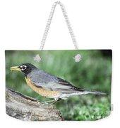 Robin Eating Mealworm Weekender Tote Bag