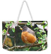 Robin In Apple Tree Weekender Tote Bag