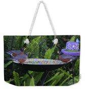 Robins In Bird Bath Weekender Tote Bag