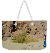 Rock Arrow And Terry Directing Into Ladder Canyon From Big Painted Canyon Trail In Mecca Hills-ca  Weekender Tote Bag