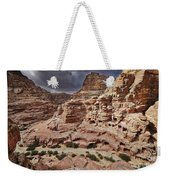 rock landscape with simple tombs in Petra Weekender Tote Bag