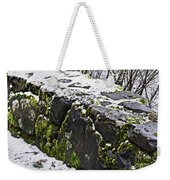 Rock Wall With Moss And A Dusting Of Snow Art Prints Weekender Tote Bag