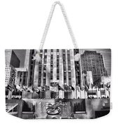 Rockefeller Center Black And White Weekender Tote Bag