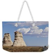 Rocky Buttes Protrude From The Middle Of Arizona Landscape Weekender Tote Bag