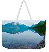 Rocky Mountain And Rocky Bottom Reflection In Lake Mcdonald In Glacier National Park-montana Weekender Tote Bag