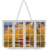 Rocky Mountain Autumn Ranch White Window View Weekender Tote Bag