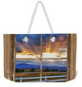 Rocky Mountain Country Beams Of Sunlight Rustic Window Frame Weekender Tote Bag