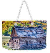 Rocky Mountain Rural Rustic Cabin Autumn View Weekender Tote Bag