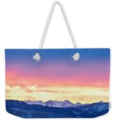 Rocky Mountain Sunset Clouds Burning Layers  Panorama Weekender Tote Bag
