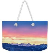 Rocky Mountain Sunset Clouds Burning Layers  Panorama Weekender Tote Bag
