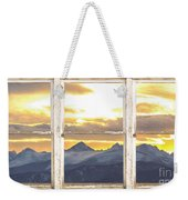 Rocky Mountain Sunset White Rustic Farm House Window View Weekender Tote Bag