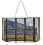Rocky Mountains Flatirons With Snow Longs Peak Bay Window View Weekender Tote Bag