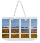 Rocky Mountains Horses White Window Frame View Weekender Tote Bag