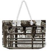 Rodeo Fence Sitters- Sepia Weekender Tote Bag