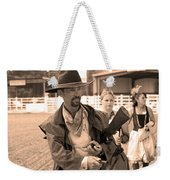 Rodeo Gunslinger With Saloon Girls Sepia Weekender Tote Bag