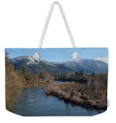 Rogue River And Mt Baldy In Winter Weekender Tote Bag