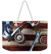 Rollar Skates With Wooden Flag Weekender Tote Bag