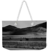 Rolling Hills And Cattle In Black And White Weekender Tote Bag