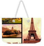 Romantic Paris Sunset Collage Weekender Tote Bag