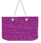 Rome In Words Pink Weekender Tote Bag