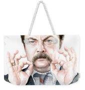 Ron Swanson Mustache Portrait Weekender Tote Bag