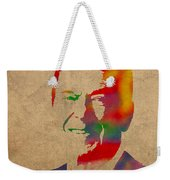 Ronald Reagan Watercolor Portrait On Worn Distressed Canvas Weekender Tote Bag by Design Turnpike