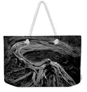 Roots Of A Fallen Tree By Wawa Ontario In Black And White Weekender Tote Bag