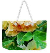 Rose And Leaves On A Rainy Day Weekender Tote Bag