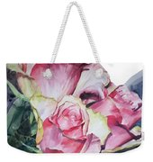 Watercolor Of A Bouquet Of Pink Roses I Call Rose Michelangelo Weekender Tote Bag