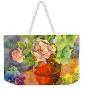 Roses And Pansies Weekender Tote Bag by Julia Rowntree