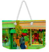 Roses At The Flower Shop Fleuriste Coin Vert Rue Notre Dame Springtime Scenes Carole Spandau Weekender Tote Bag