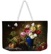 Roses In A Vase Peaches Nuts And A Melon On A Marbled Ledge Weekender Tote Bag