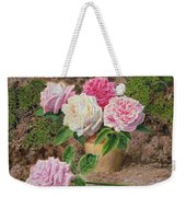 Roses In An Earthenware Vase By A Mossy Weekender Tote Bag