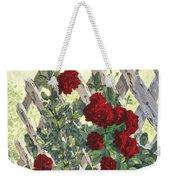 Roses On Lattice Weekender Tote Bag