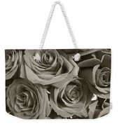 Roses On Your Wall Sepia Weekender Tote Bag