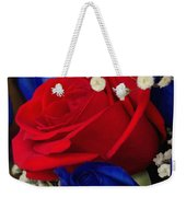 Roses - Red White And Blue Weekender Tote Bag