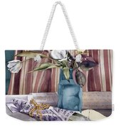 Roses Tulips And Striped Curtains Weekender Tote Bag by Julia Rowntree