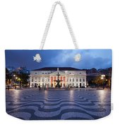 Rossio Square At Night In Lisbon Weekender Tote Bag