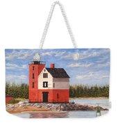 Round Island Light House Weekender Tote Bag