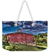 Round Red Barn Weekender Tote Bag