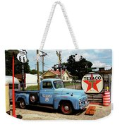 Route 66 - Gas Station With Watercolor Effect Weekender Tote Bag by Frank Romeo