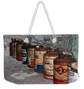 Route 66 Odell Il Gas Station Oil Cans Digital Art Weekender Tote Bag