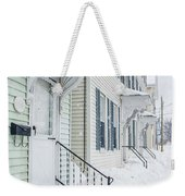 Row Houses On A Snowy Day Weekender Tote Bag