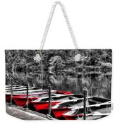Row Of Red Rowing Boats Weekender Tote Bag