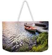 Rowboat At Lake Shore At Sunrise Weekender Tote Bag by Elena Elisseeva