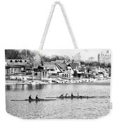 Rowing Along The Schuylkill River In Black And White Weekender Tote Bag